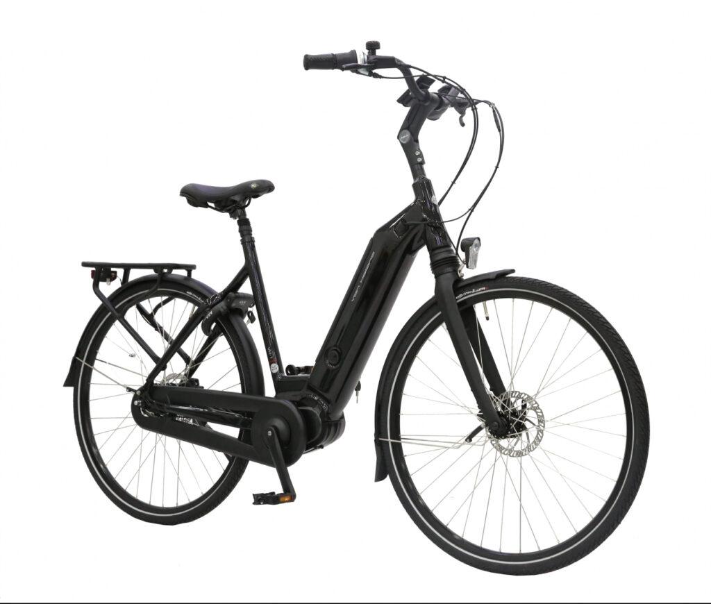 e-bike leasen, goedkoopste lease fietsen, goedkope lease ebike, elektrische fiets goedkoop leasen, goedkoopste elektrische leasefiets, zwarte e-bike, van holland VH1, van holland, vanholland, dames e-bike, e-bike met accu in het frame, e-bike met middenmotor, bafang m400